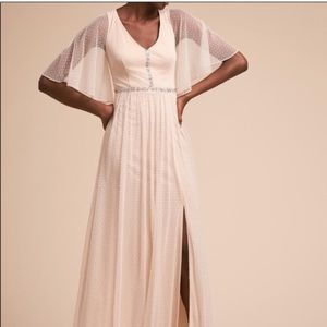 NWT Adrianna Papell Champagne Point D'Esprit Dress